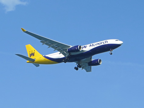Monarch Airlines arriving at Corfu Airport